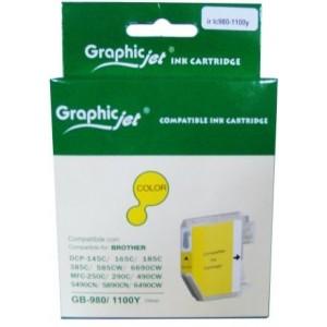 Brother LC-980Y/1100Y съвместима жълта мастилена касета GraphicJet