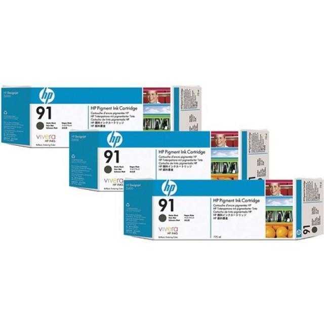 HP C9480A пакет 3 черен мат мастилени касети 91