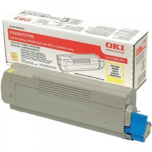 OKI 43381905 оригинална жълта тонер касета за C5600/C5700