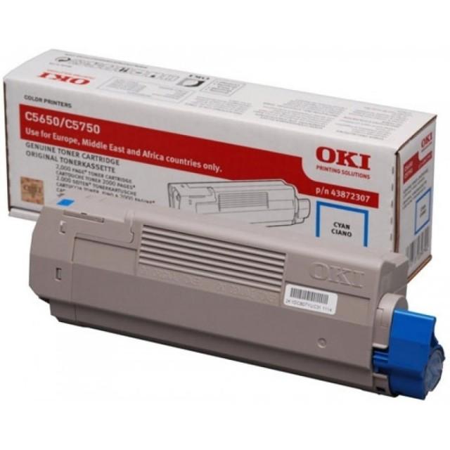 OKI 43872307 оригинална синя тонер касета за C5650/C5750