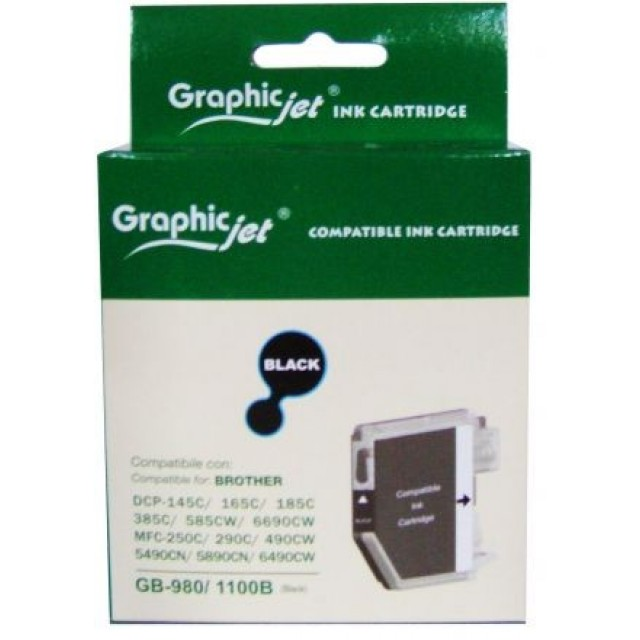 Brother LC-970BK/1000BK съвместима черна мастилена касета GraphicJet