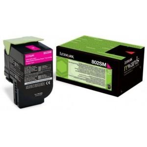 Lexmark 80C2SM0 оригинална червена тонер касета (Return Program)