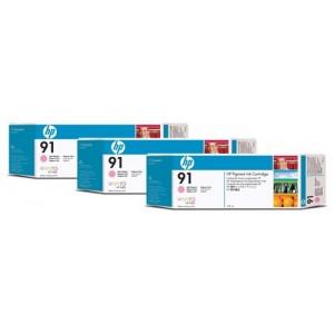 HP C9487A пакет 3 светло червени мастилени касети 91