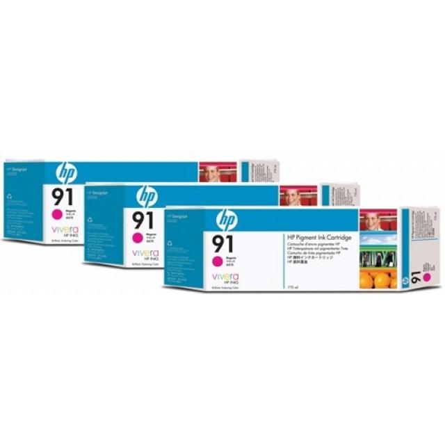 HP C9484A пакет 3 червени мастилени касети 91