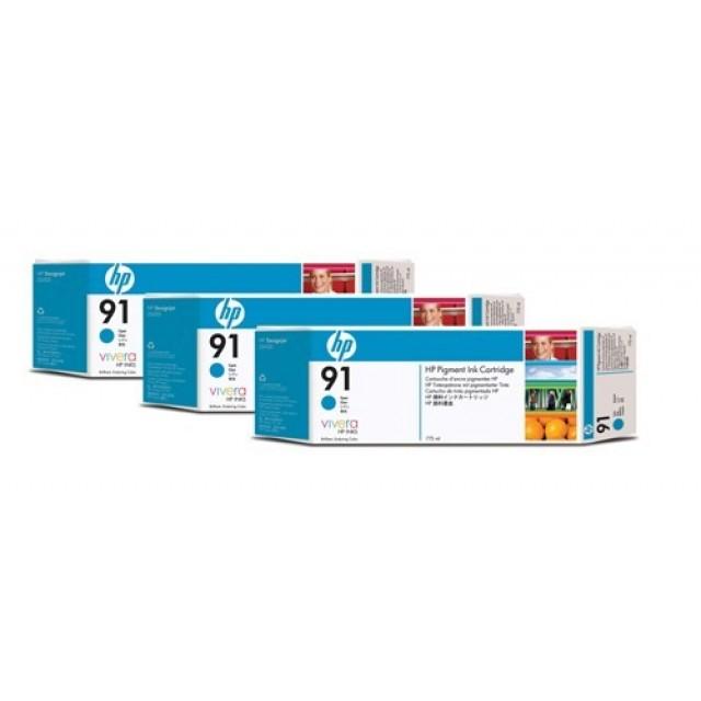HP C9483A пакет 3 сини мастилени касети 91
