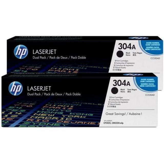 HP CC530AD двоен пакет оригинални черни тонер касети 304A