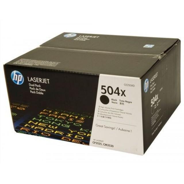 HP CE250XD двоен пакет оригинални черни тонер касети 504X