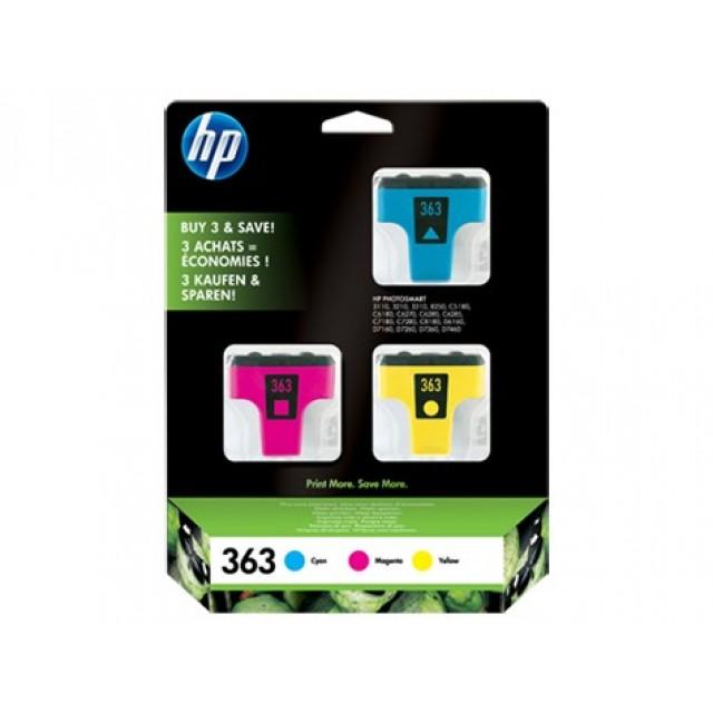 HP CB333EE синя, червена и жълта мастилени касети 363
