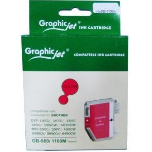 Brother LC-980M/1100M съвместима червена мастилена касета GraphicJet
