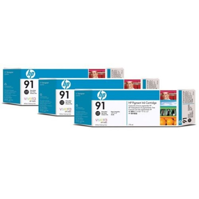 HP C9481A пакет 3 фото черни мастилени касети 91