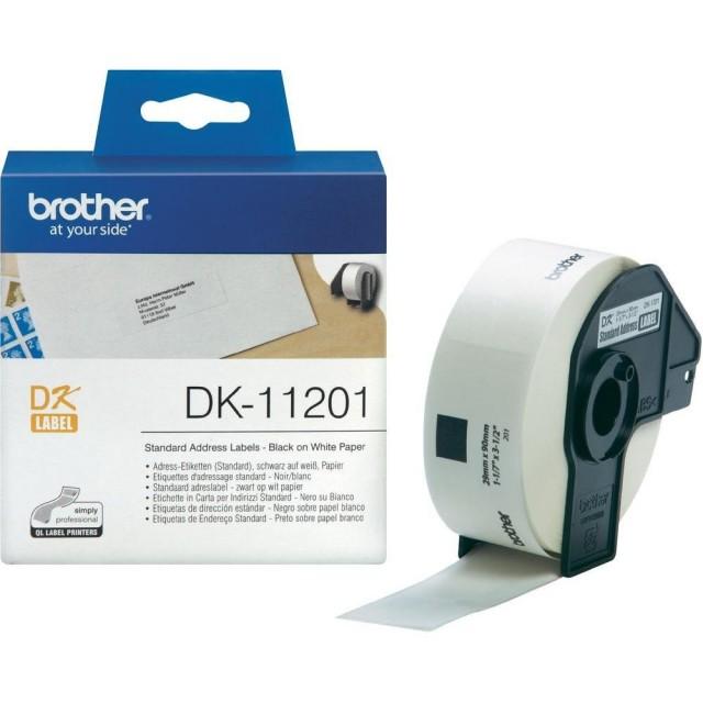 Brother DK-11201 стандартни адресни етикети, черен текст на бяла основа