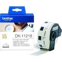 Brother DK-11218 кръгли етикети, черен текст на бяла основа