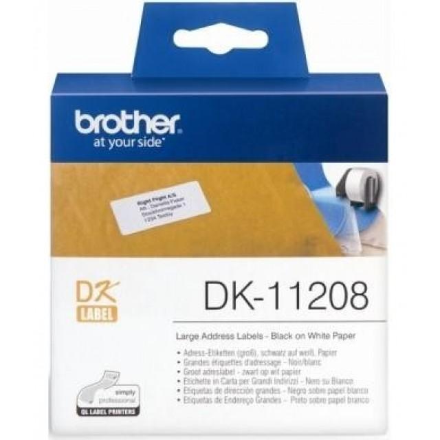 Brother DK-11208 големи адресни етикети, черен текст на бяла основа