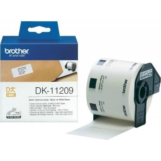 Brother DK-11209 малки адресни етикети, черен текст на бяла основа