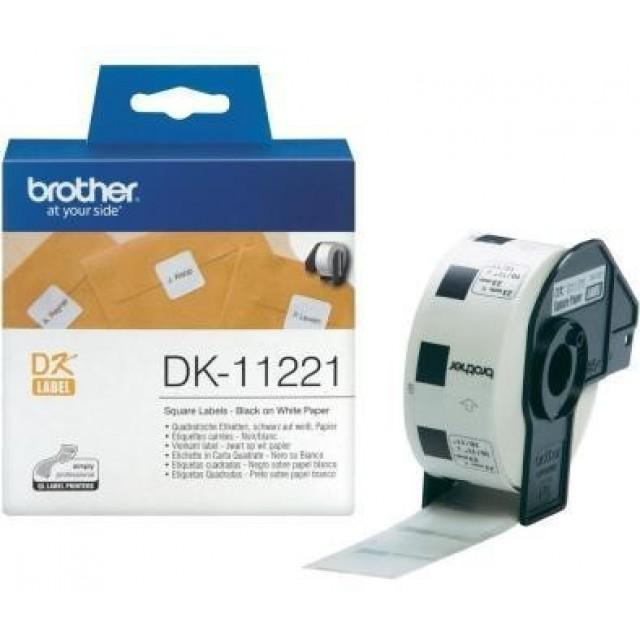 Brother DK-11221 квадратни етикети, черен текст на бяла основа