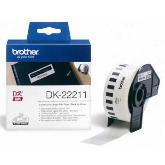 Brother DK-22211 непрекъсната филмирана лента, черен текст на бяла основа