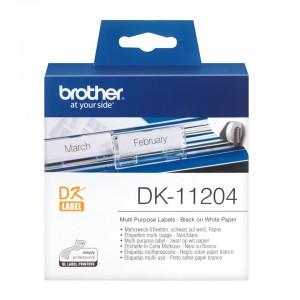Brother DK-11204 мултифункционални етикети, черен текст на бяла основа