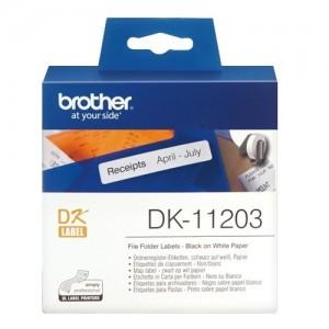 Brother DK-11203 етикети за папка, черен текст на бяла основа