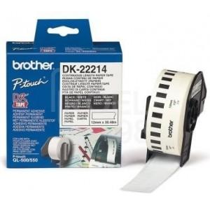 Brother DK-22214 непрекъсната хартиена лента, черен текст на бяла основа