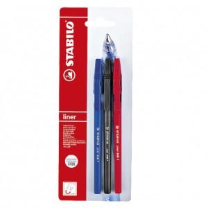 Химикалка Stabilo Liner 808 блистер 3бр., черен