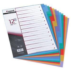 Разделител пластик с 12 цветни теми Axent А4
