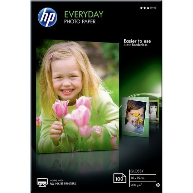 HP Everyday Glossy Photo Paper-100 sht/10 x 15 cm, CR757A
