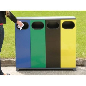 Контейнер за разделно събиране на отпадъци на открито, четворен