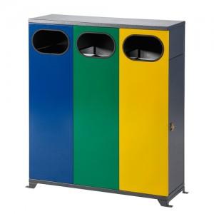 Контейнер за разделно събиране на отпадъци на открито, троен